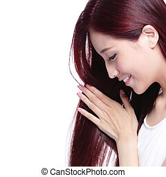 Beauty woman hair care concept - Beauty woman touch her long...