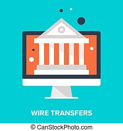 wire transfers - Abstract vector illustration of wire...
