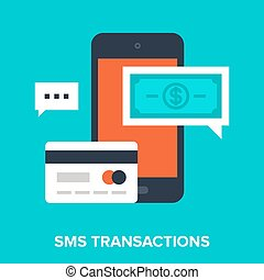 sms transactions - Abstract vector illustration of sms...
