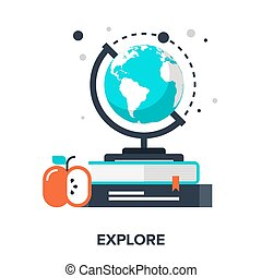 explore - Abstract vector illustration of explore flat...