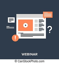 webinar - Abstract vector illustration of webinar flat...