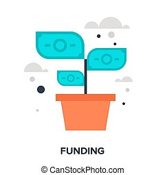 funding - Abstract vector illustration of funding flat...