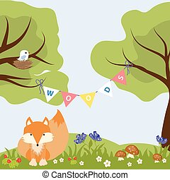 Fox Woods Animal Cartoon Design Wildlife Text Strawberry...