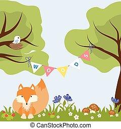Tree Flower Colourfull Baby Design Fox Bird Nest Vector...
