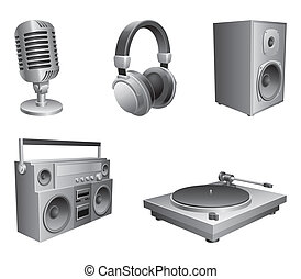 Music equipment. - Set of 5 music devices, isolated on white...