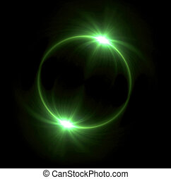 green Solar eclipse in space concept with green ring flare