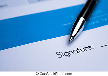 Agreement - signing a contract - Close up a contract signing...