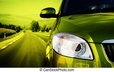 Greate car - Yellow car on the road