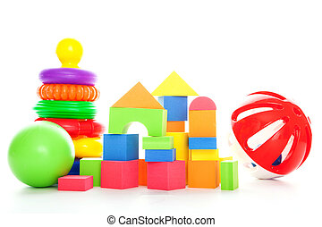 Pyramid, cubes, ball - Various colorful kids toys against...