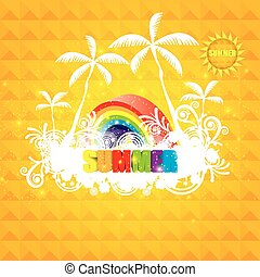 Warm orange summer colorful background with sun