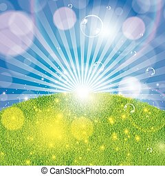 Summer spring background with grass and sunlight