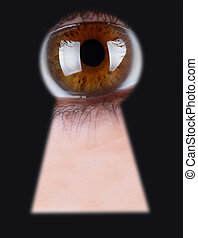 eye - Eye in keyhole isolated on black background
