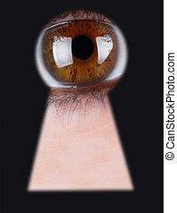 eye - Eye in keyhole isolated on black background