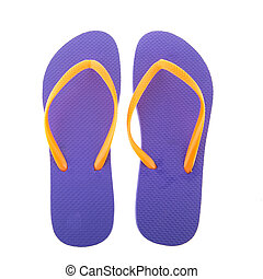 purple flipflops for the summer isolated over white...