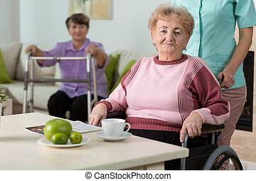 Woman on wheelchair - Older disabled woman on wheelchair in...