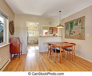 Simplistic hardwood dining room. - Simplistic hardwood...