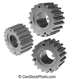 gears on a white background - Three metal gears on a white...
