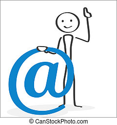 E-mail symbol Attention - Illlustration in ink style showing...
