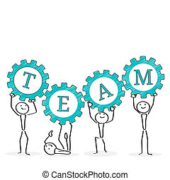 Teamwork concept illustration. Ink style design.