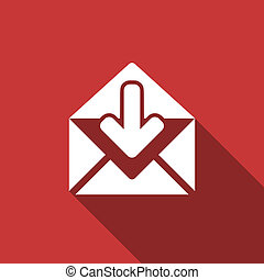 email flat design modern icon with long shadow for web and...