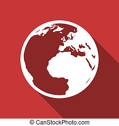 earth flat design modern icon with long shadow for web and...