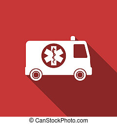 ambulance flat design modern icon with long shadow for web...