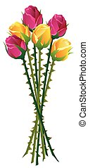 Roses Thorns Bouquet - Roses with many thorns on their...