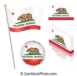 State Of California Flag Set - State of California flag on a...