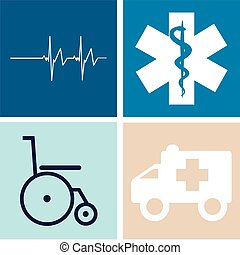 Medical icons - Set of medical icons on colored backgrounds...