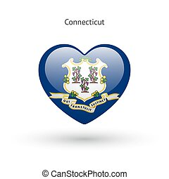 Love Connecticut state symbol. Heart flag icon. Vector...