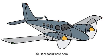 Twin-engine airplane - Hand drawing of a blue small...