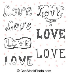 Love. Valentine's day typography elements. Sketchy doodles...