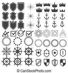 Retro design elements collection. Set of vintage styled hipster icons