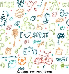 Seamless pattern with hand drawn sport equipment. I love...