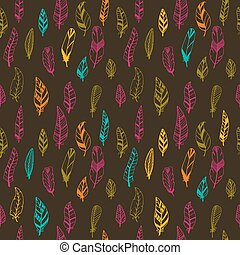Seamless vintage pattern with hand drawn feathers