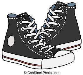 Black sneakers - Hand drawing of classic black sneakers