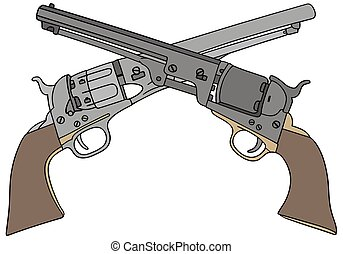 Wild West handguns - Hand drawing of two classic Wild West...