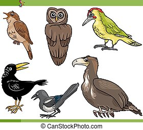 birds cartoon set illustration - Cartoon Illustration of...