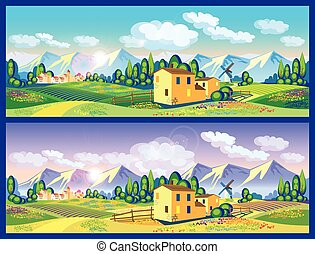 countryside in the spring and summer - stylized vector...