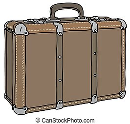 Old brown suitcase - Hand drawing of a classic brown leather...