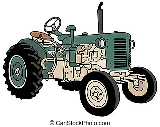Old green tractor - Hand drawing of an old green small...