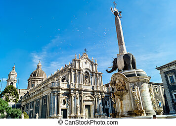 Liotru and Cathedral in Catania, Sicily - Cathedral and the...
