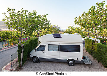 Mobile home on a camping site