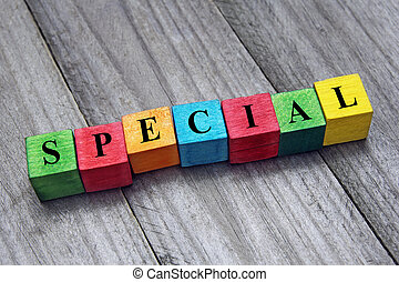word special on colorful wooden cubes