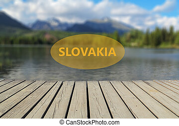 concept of vacation in Slovakia, mountain lake in the...