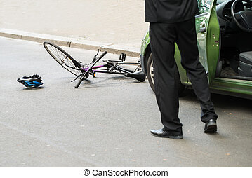 Driver After Collision With Bicycle