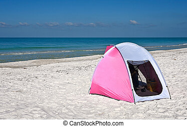 Children's Shelter Beach Tent - A Pink and White Portable...