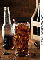 Refreshing Bubbly Soda Pop with Ice Cubes
