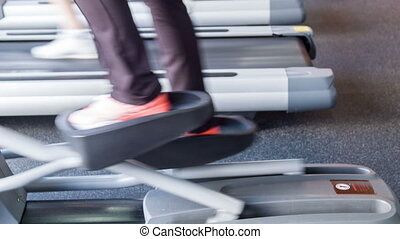 Healthy fit people are exercising in gym - Close up of...
