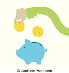 vector piggy bank and hand with coins